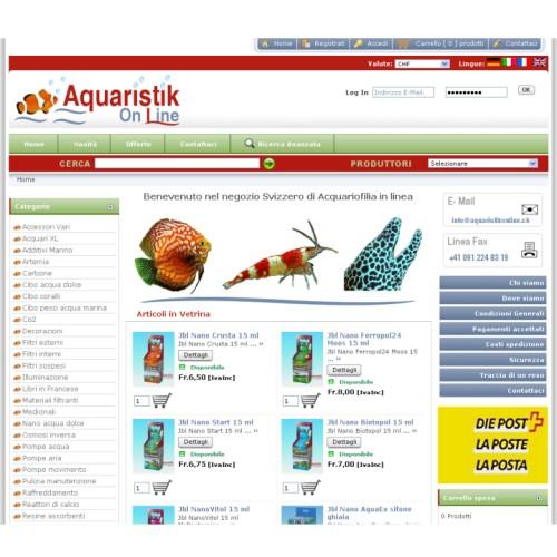 Portfolio Ingematic - Cliente Aquaristik Online - Anteprima Sito Web Ecommerce