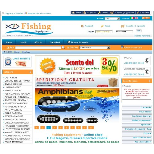 Portfolio Ingematic - Cliente Fishing Equipment - Anteprima Sito Web Ecommerce
