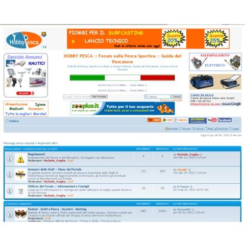 Portfolio Ingematic - Cliente Hobby Pesca - Anteprima Sito Web Forum