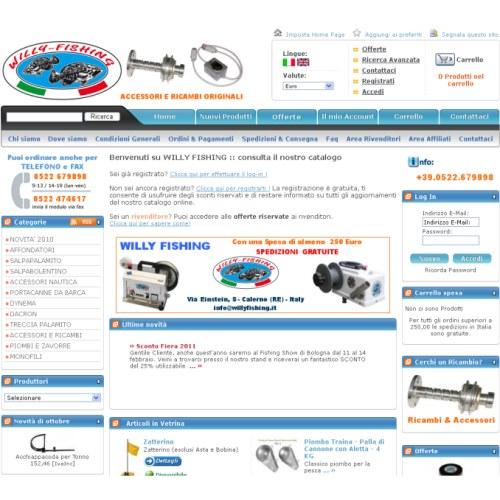Portfolio Ingematic - Cliente Willy Fishing - Anteprima Sito Web Ecommerce