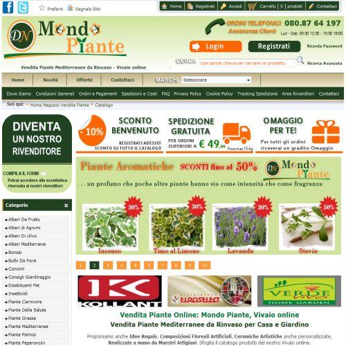 Portfolio Ingematic - Cliente MondoPiante - Anteprima Sito Web Ecommerce