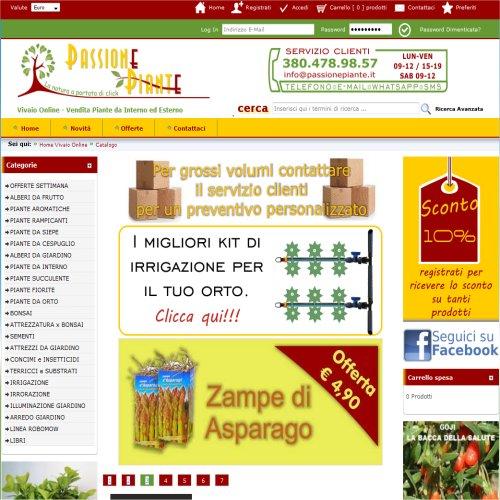 Portfolio Ingematic - Cliente PassionePiante - Anteprima Sito Web Ecommerce